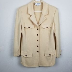 St. John Collection| creme knit blazer coat